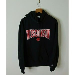 Champion Wisconsin Badgers Hoodie Sweatshirt Black